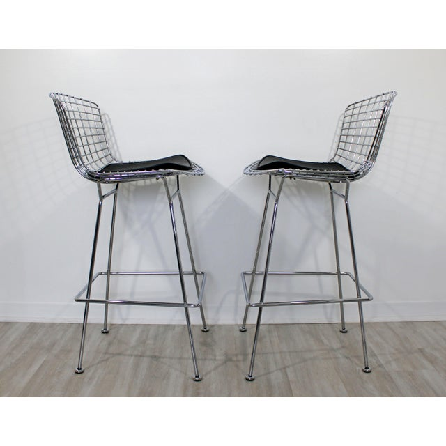 Modernist Chrome and Black Vinyl High Bar Stools by Bertoia for Knoll - a Pair For Sale In Detroit - Image 6 of 8