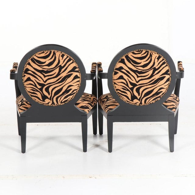 Louis XVI Style Oval Back Fauteuil Armchairs With Animal Print For Sale - Image 4 of 7