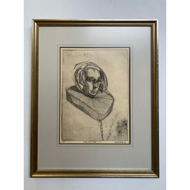 """Black 1966 Vincent Perez Artist Proof """"Lady With Collar"""", Framed For Sale - Image 8 of 8"""