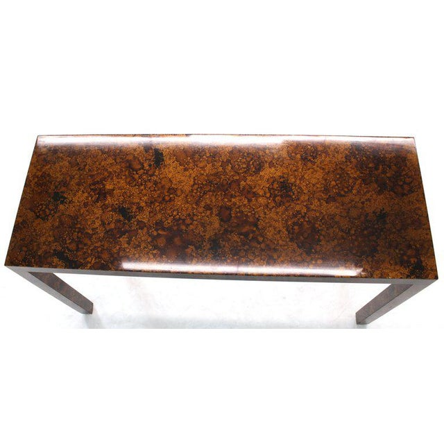 Brown Mid Century Modern Tortoise Lacquer Finish Console Table For Sale - Image 8 of 9