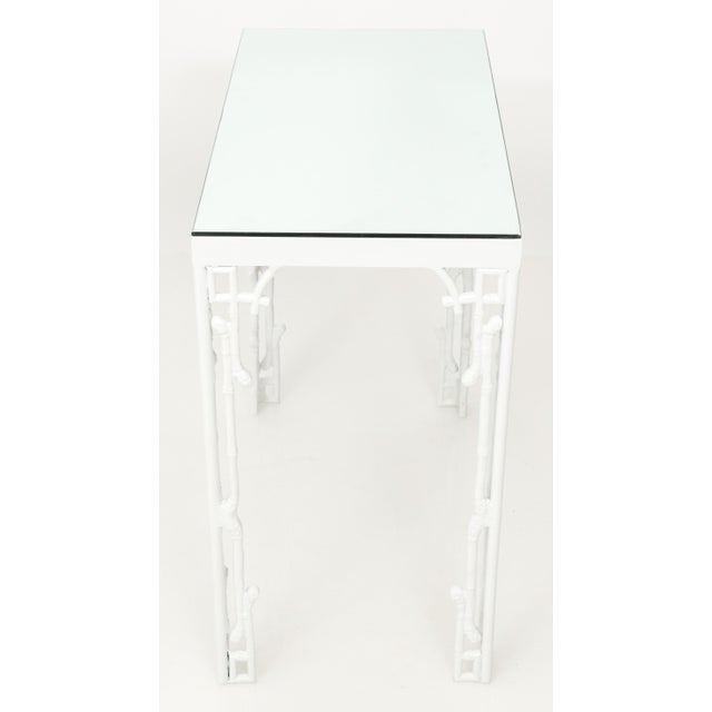 1970s white metal bamboo style console and bench. Newly powder coated in gloss white finish. New mirrored glass top. Bench...