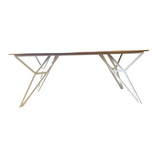 Handcrafted Walnut Six-Seater Table With White Steel Base