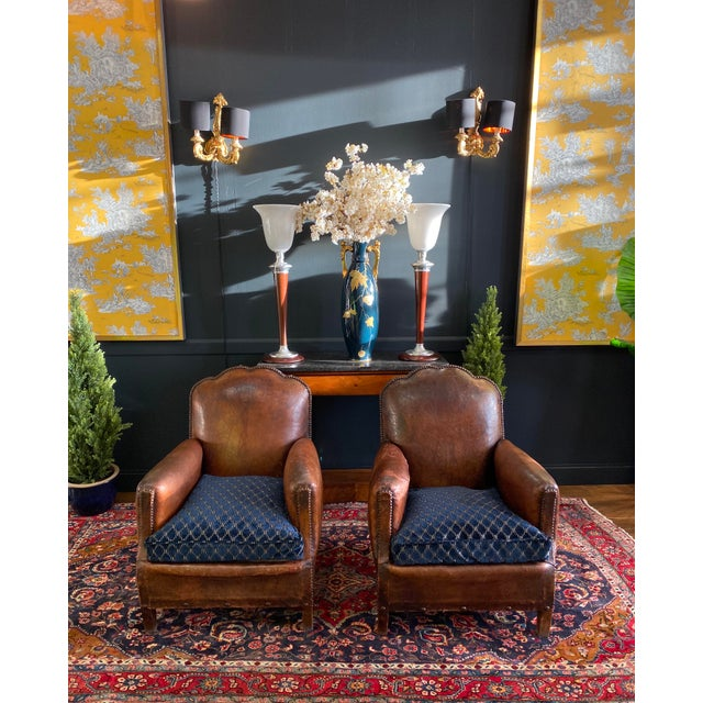 Leather 1930's Vintage Art Deco Leather Club Chairs - A Pair For Sale - Image 7 of 10