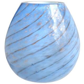 Fratelli Toso Murano Blue Aventurine Swirl Italian Art Glass Flower Vase For Sale