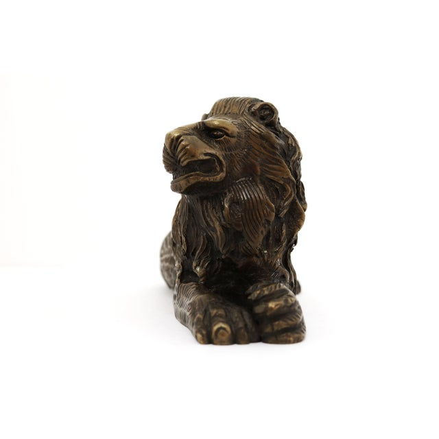 Traditional Vintage Bronze Lion Figurine For Sale - Image 3 of 8