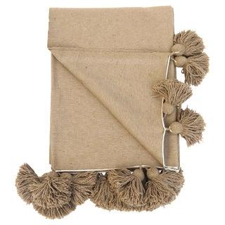 King Size Camel Cotton Pom Pom Blanket For Sale