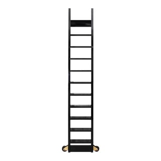 Black Lacquered Book Case Ladder on Brass Rail For Sale