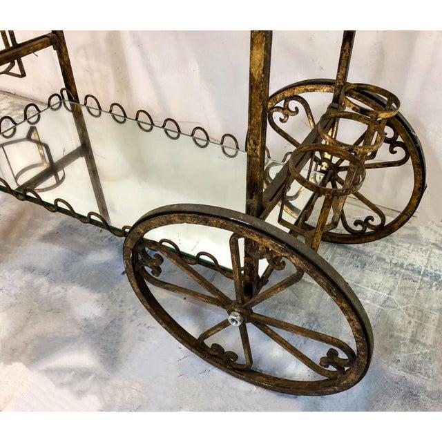 Hollywood Regency Italian Gilt Metal Bar Cart For Sale - Image 4 of 6