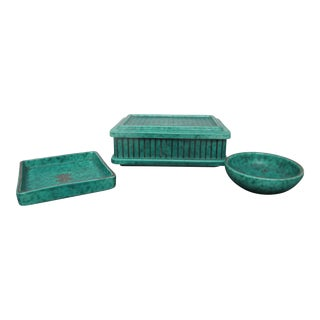Gustavsberg Sweden Argenta 1225 Blue Green Pin Dish Bowl & Box W/Lid Vanity Set For Sale
