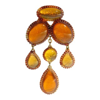 Line Vautrin School Honey Amber Talosel Dangling Pin Brooch For Sale