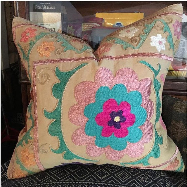 Embroidered Suzani Pillow For Sale In Los Angeles - Image 6 of 6