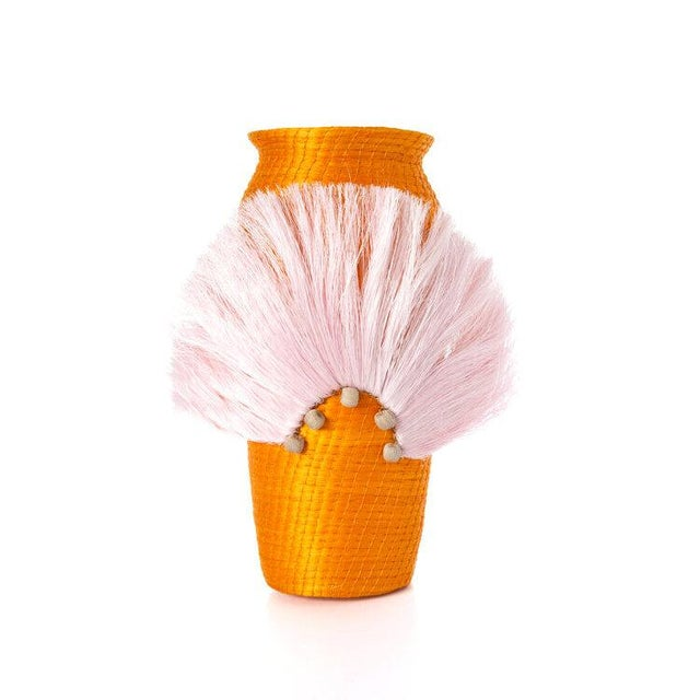 Boho Chic Fanned Out Small Tall Vase Mango For Sale - Image 3 of 3