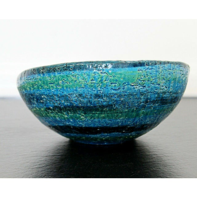 Mid Century Modern Blue Green Ceramic Art Bowl Bitossi Made in Italy 1970s For Sale In Detroit - Image 6 of 9