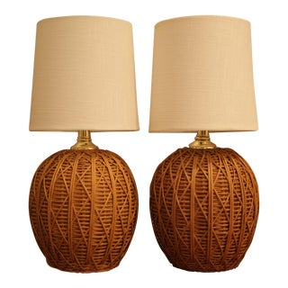 Wicker Lamps, a Pair