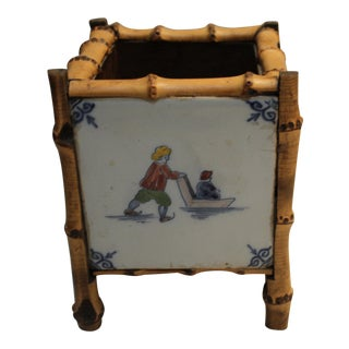1960s Vintage Bamboo Framed Dutch Tile Planter For Sale