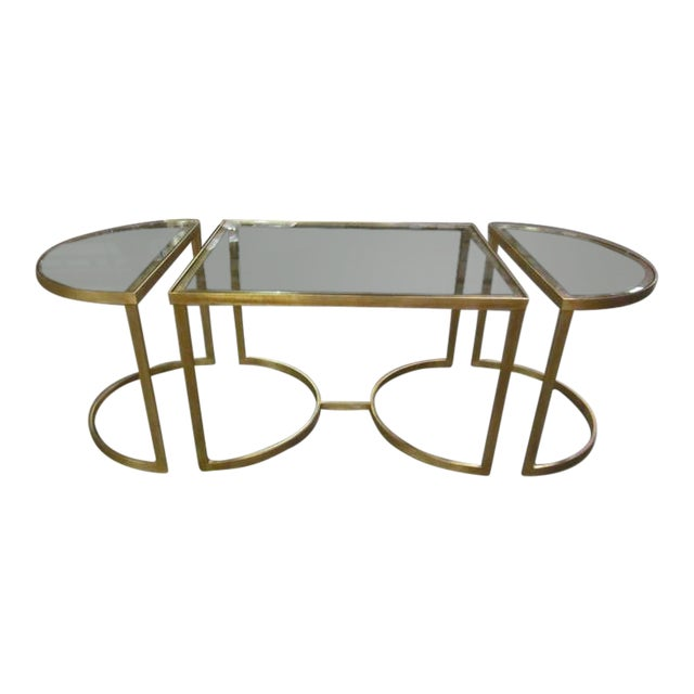 Italian Gilt Iron Cocktail Table in the Style of Maison Bagues For Sale