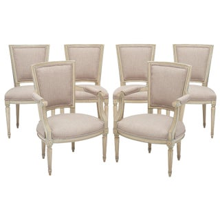 Late 19th Century Vintage Louis XVI Style Armchairs- Set fo 6 For Sale