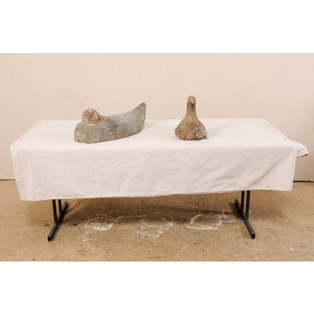French Pair of 19th Century French Carved Stone Ducks For Sale - Image 3 of 12