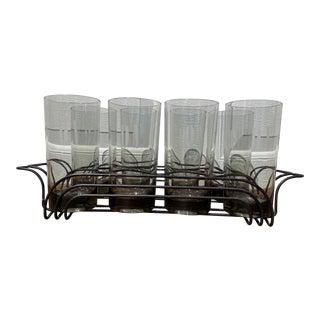 """DV"" Monogrammed Glasses with Cocktail Server - 9 Piece Set For Sale"