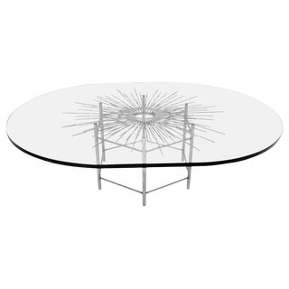 Mid-Century Sculptural Bespoke Brutalist Welded Glass Top Table For Sale