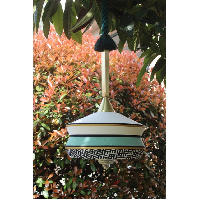 Contemporary Contardi Calypso Antigua Outdoor Pendant Light in Moss Green and Mint For Sale - Image 3 of 5