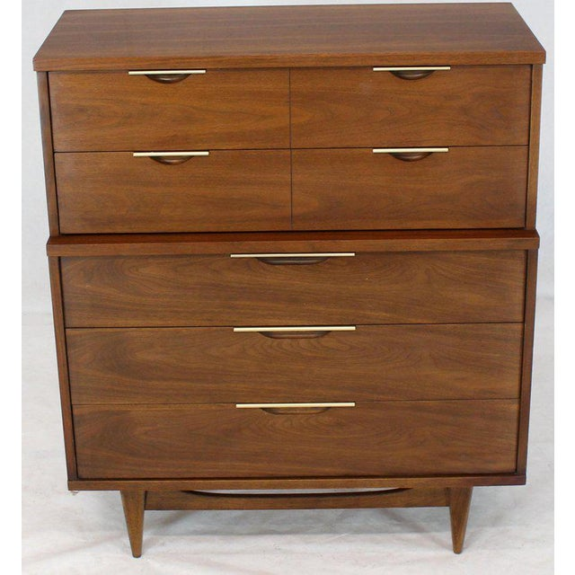 Five Drawers Walnut High Chest Dresser For Sale - Image 11 of 11