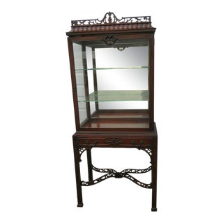 1930s Chinese Chippendale Hand Carved Curio Cabinet For Sale