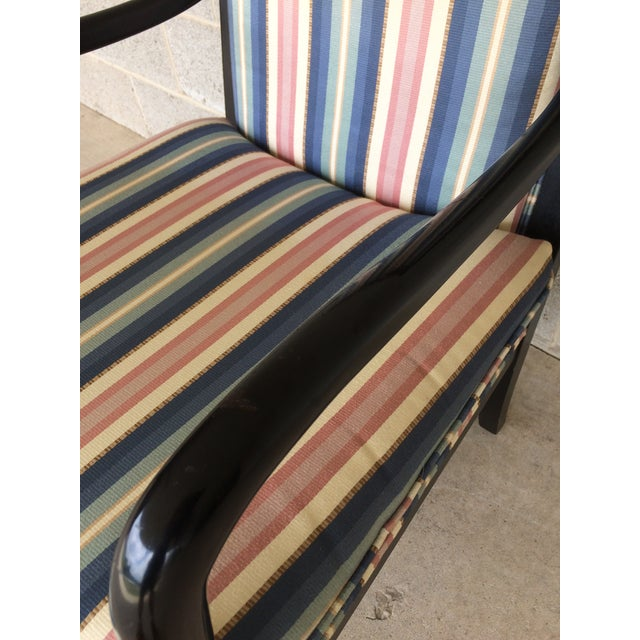 Textile Ethan Allen Dolphin Federal Black/Gold Trim Upholstered Arm Chair For Sale - Image 7 of 10