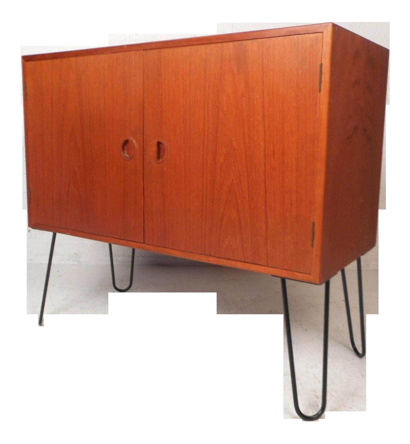 Mid Century Modern Danish Teak Cabinet With Hairpin Legs