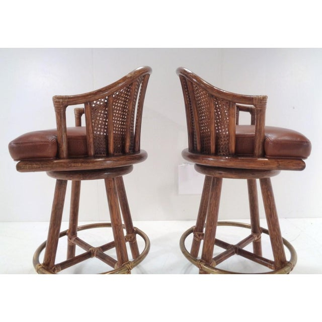 Boho Chic Vintage McGuire Organic Modern Bamboo & Leather Swivel Barstools ~ a Pair For Sale - Image 3 of 13