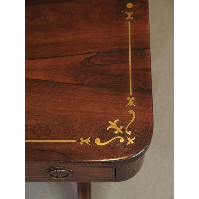 Antique English Regency Rosewood Writing Table, Saber Legs, Brass Inlay For Sale - Image 4 of 10