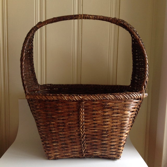 Rustic Woven Wicker Basket For Sale - Image 9 of 9