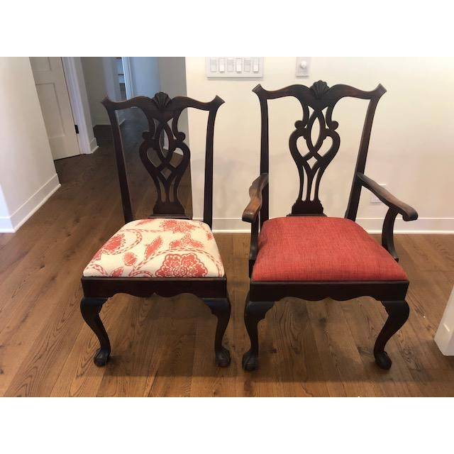 Set includes 8 dining and 2 arm chairs. Overall very nice patina. Scratches and nicks vary on each chair but these chairs...