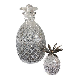 Crystal & Glass Pineapple Buckets - A Pair For Sale