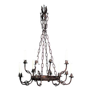 English Renaissance Style Gilt Iron Chandelier For Sale