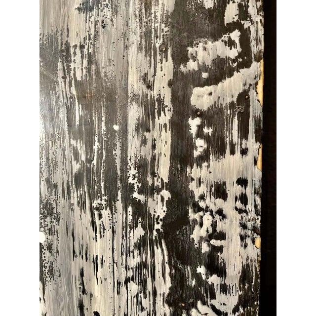 "Lynn Basa Encaustic Black and White Stripe Panel ""Three Ways of Looking Black"" For Sale - Image 9 of 13"