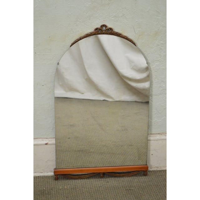 Brown 1930s Partial Gilt Frame Hanging Wall Mirror For Sale - Image 8 of 10