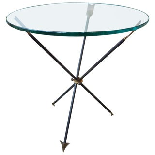 1960s Italian Gio Ponti Style Iron and Glass Arrow Table For Sale