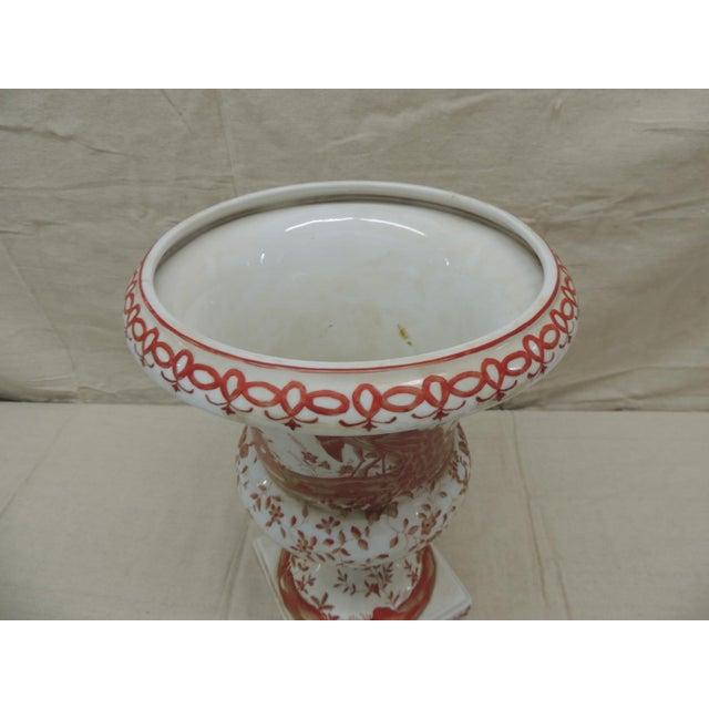 Mid-Century Modern Orange and White Ceramic Urn For Sale - Image 3 of 6