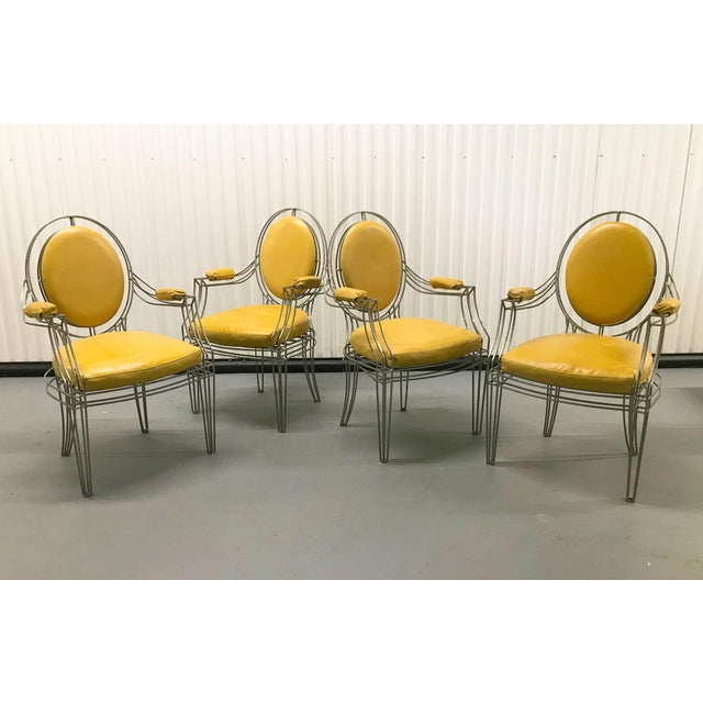Boho Chic Casamidy Leather and Iron 'Opera' Armchairs - Set of 4 For Sale - Image 3 of 10