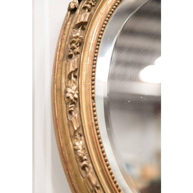 Late 19th Century 19th Century French Louis XVI Style Carved Oval Giltwood Mirror For Sale - Image 5 of 8