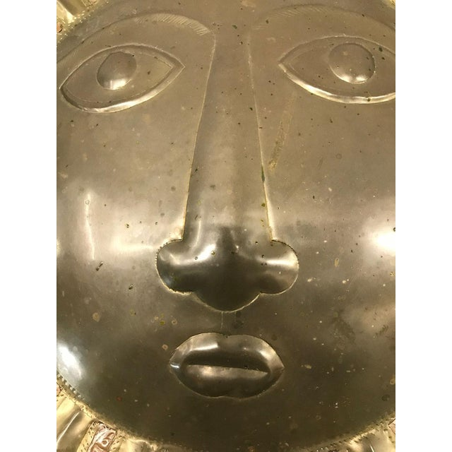 1970s Sergio Bustamante-Style Brass and Copper Sun Wall Sculpture, 1970s For Sale - Image 5 of 9