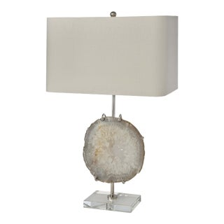 Exhibit Table Lamp in Nickel and Natural Agate For Sale