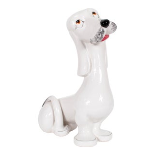 Vintage Italian Porcelain Ceramic Hound Dog For Sale