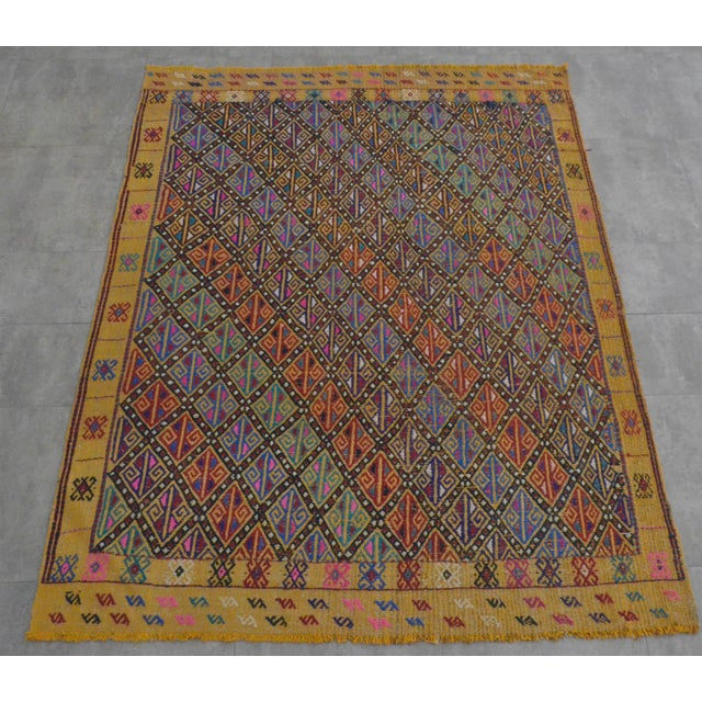 Boho Chic Hand Woven Vintage Turkish Kilim Rug. Wool Braided Area Rug Kilim Jajim- 5′5″ × 7′ For Sale - Image 3 of 9