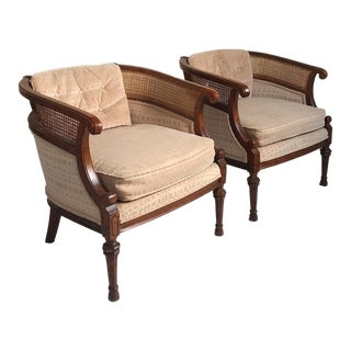 Hollywood Regency Cane Accent Chairs - a Pair