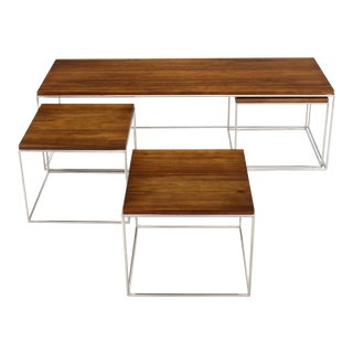 Rectangular 4 Pieces Nesting Solid Stainless Chrome Legs Coffee Table For Sale