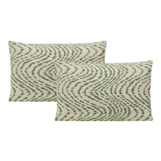"""12"""" X 18"""" Fern Woven Flamestitch Lumbar Pillows -A Pair For Sale"""