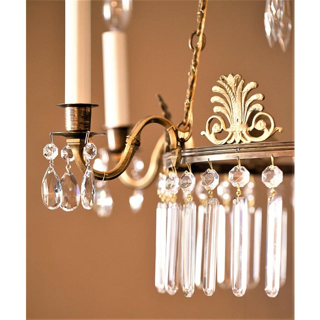 Neoclassical Style 6-Light Brass and Crystal Chandelier, Sweden, Circa 1890 For Sale - Image 9 of 10
