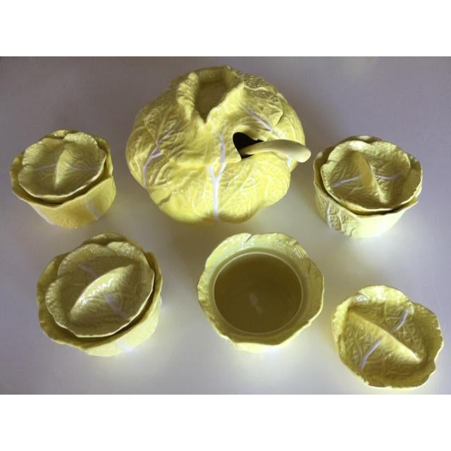 Ceramic Vintage Yellow Cabbage Soup Tureen W/Ladle & Covered Soup Bowls - 11 Piece Set For Sale - Image 7 of 7